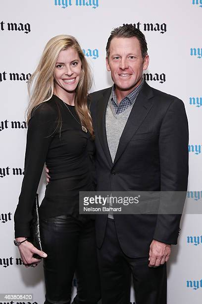 Anna Hansen and professional cyclist Lance Armstrong attend The New York Times Magazine Relaunch Event on February 18 2015 in New York City