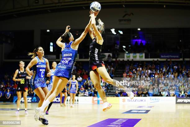 Anna Harrison of the Mystics defends against Ariana CableDixon of the Magic during the NZ Premiership match between the Mystics and the Magic at...