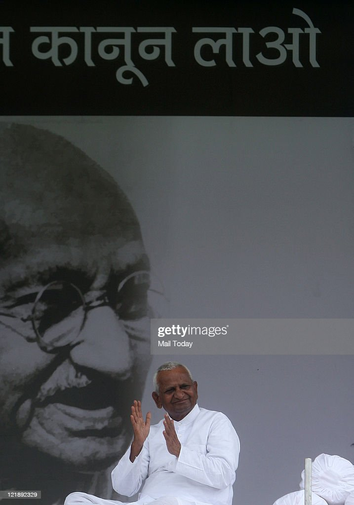 Anna Hazare during his fast against corruption at Ramlila ground in New Delhi on Sunday