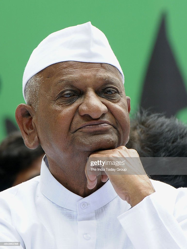 <a gi-track='captionPersonalityLinkClicked' href=/galleries/search?phrase=Anna+Hazare&family=editorial&specificpeople=5963003 ng-click='$event.stopPropagation()'>Anna Hazare</a>, Social Worker during protest against BJPs Land Bill at Jantar Mantar New Delhi.