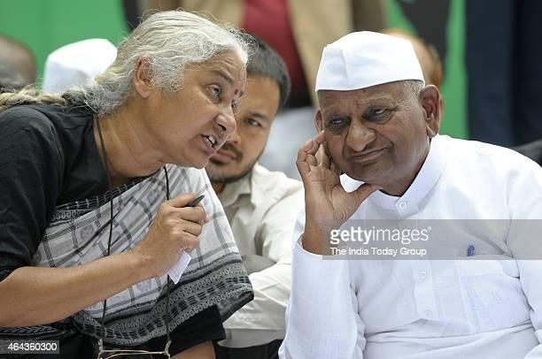 Anna Hazare Social Worker with Medha Patkar during protest against BJPs Land Bill at Jantar Mantar New Delhi