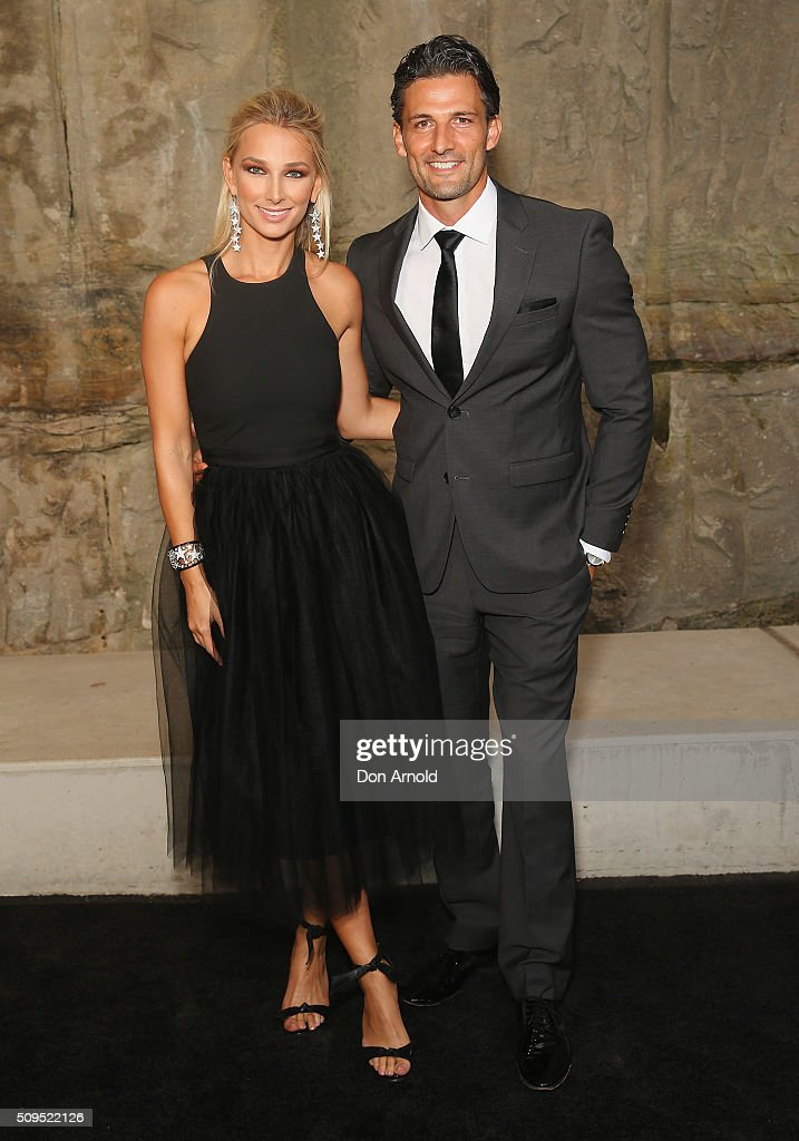 Anna Heinrich and Tim Robards arrive ahead of the Myer AW16 Fashion Launch at Barangaroo Reserve on February 11, 2016 in Sydney, Australia.