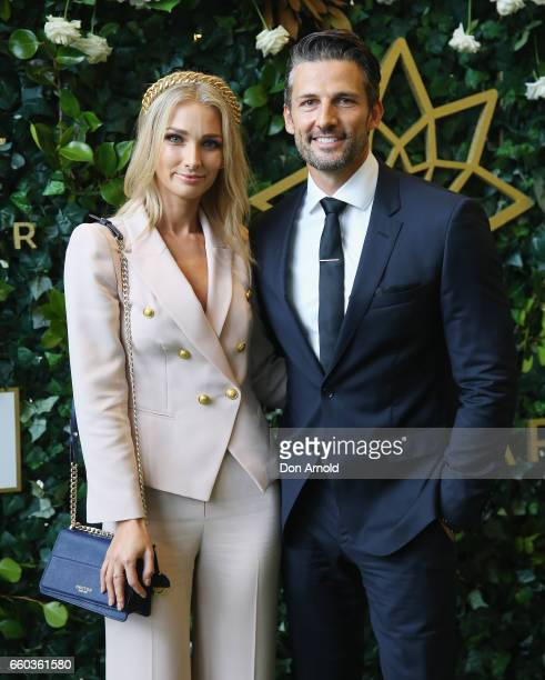 Anna Heinrich and Tim Robards arrive ahead of the Star Doncaster Mile Inaugural Luncheon at The Star on March 30 2017 in Sydney Australia