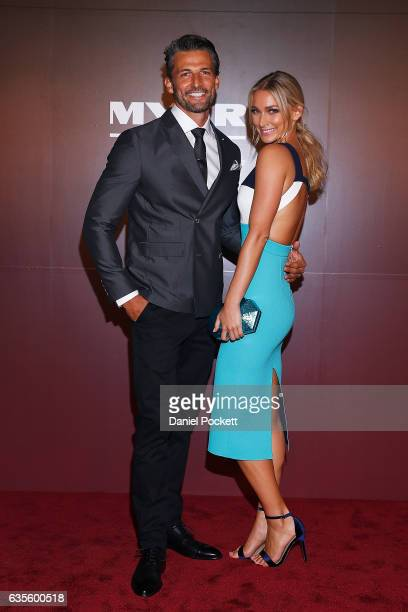 Anna Heinrich and Tim Robards arrives ahead of the Myer Autumn 2017 Fashion Launch on February 16 2017 in Melbourne Australia