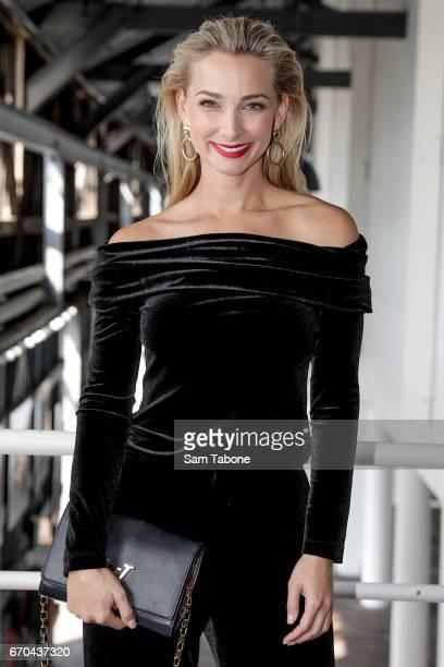 Anna Heinrich arrives ahead of the Carla Zampatti Spring Summer 2017 Show at Sydney Theatre Company on April 20 2017 in Sydney Australia