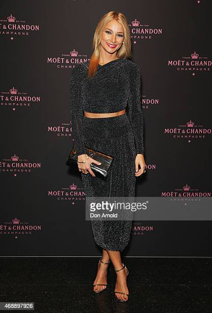Anna Heinrich poses at the Moet Chandon Grand Vintage Rose 2006 launch at the Roslyn Packer Theatre on April 8 2015 in Sydney Australia