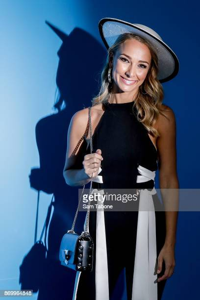 Anna Heinrich poses at the Myer Marquee on Derby Day at Flemington Racecourse on November 4 2017 in Melbourne Australia