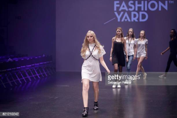 Anna Hiltrop and other models are seen ahead of the Fashionyard show during Platform Fashion July 2017 at Areal Boehler on July 23 2017 in...