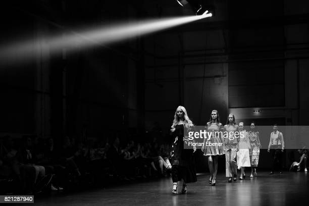 Anna Hiltrop and other models walk the runway at the Fashionyard show during Platform Fashion July 2017 at Areal Boehler on July 23 2017 in...