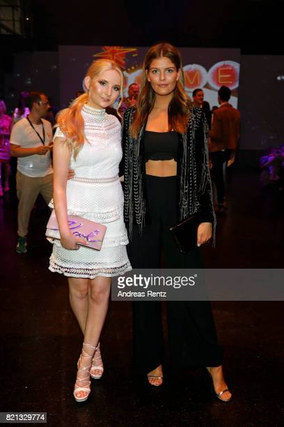 Anna Hiltrop and Vanessa Fuchs attend the Thomas Rath show during Platform Fashion July 2017 at Areal Boehler on July 23 2017 in Duesseldorf Germany