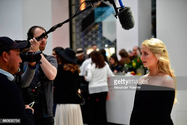 Anna Hiltrop arrives for the American Women's Club And Esmod Charity Fashion Show at DRIVE Volkswagen Group Forum on October 12 2017 in Berlin Germany