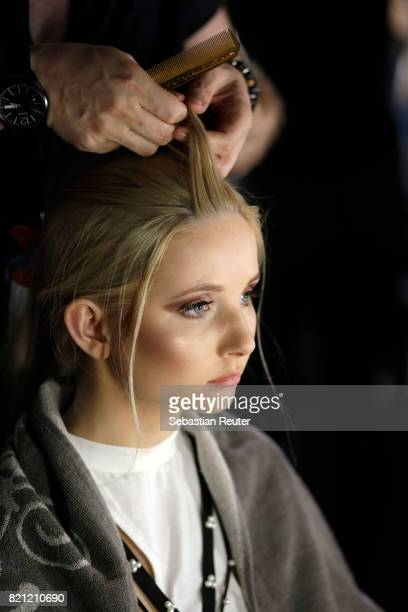 Anna Hiltrop is seen backstage ahead of the Fashionyard show during Platform Fashion July 2017 at Areal Boehler on July 23 2017 in Duesseldorf Germany