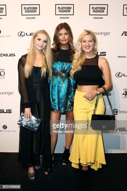 Anna Hiltrop Vanessa Fuchs and Palina Kozyrava attend the Breuninger show during Platform Fashion July 2017 at Areal Boehler on July 21 2017 in...