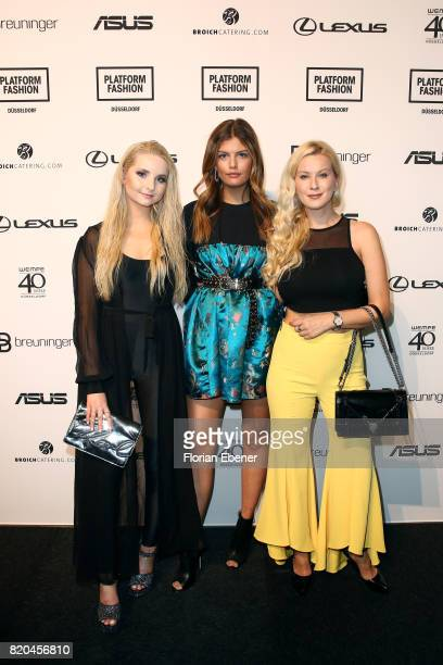 Anna Hiltrop Vanessa Fuchs and Palina Kozyrava attends the Breuninger show during Platform Fashion July 2017 at Areal Boehler on July 21 2017 in...