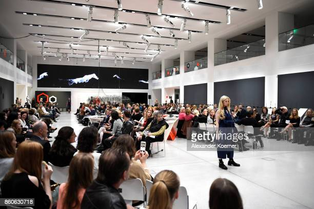Anna Hiltrop walks the runway during the American Women's Club And Esmod Charity Fashion Show at DRIVE Volkswagen Group Forum on October 12 2017 in...