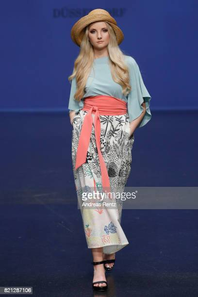 Anna Hiltrop walks the runway for 'Marianna Deri' at the Fashionyard show during Platform Fashion July 2017 at Areal Boehler on July 23 2017 in...