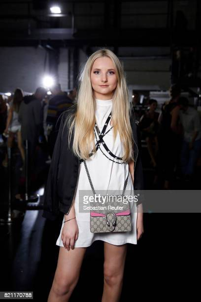 Anna Hlltropl is seen backstage ahead of the AMD Exit17_2 show during Platform Fashion July 2017 at Areal Boehler on July 23 2017 in Duesseldorf...