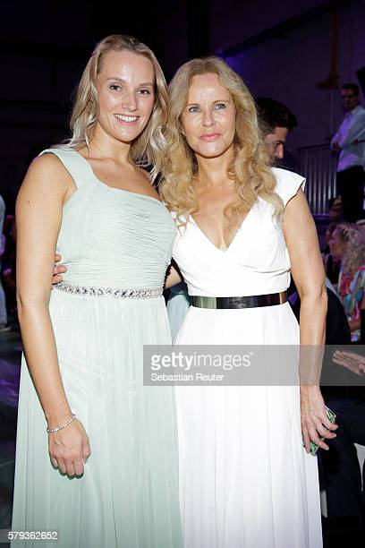 Anna Hofbauer and Katja Burkard attend the Unique show during Platform Fashion July 2016 at Areal Boehler on July 23 2016 in Duesseldorf Germany