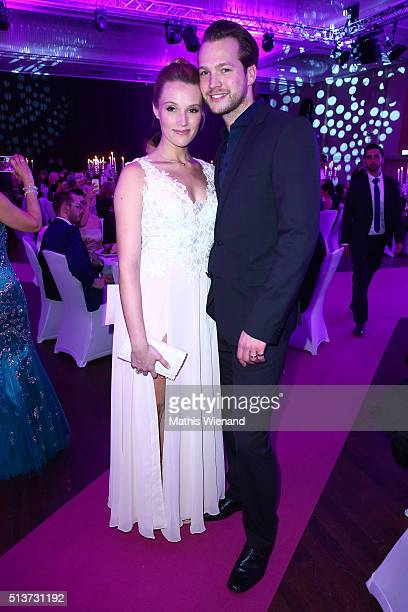 Anna Hofbauer and Marvin Albrecht attend the Gloria Deutscher Kosmetikpreis 2016 at Hilton Hotel on March 4 2016 in Duesseldorf Germany