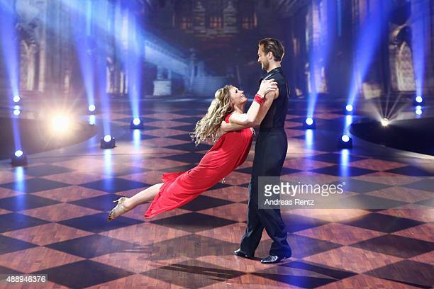Anna Hofbauer and Marvin Albrecht perform during the second show of the television competition 'Stepping Out' on September 18 2015 in Cologne Germany