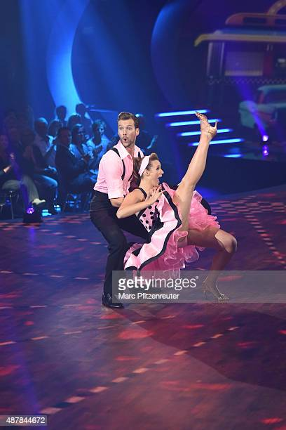 Anna Hofbauer and Marvin Albrecht perform onstage during the first show of the television competition 'Stepping Out' on September 11 2015 in Cologne...