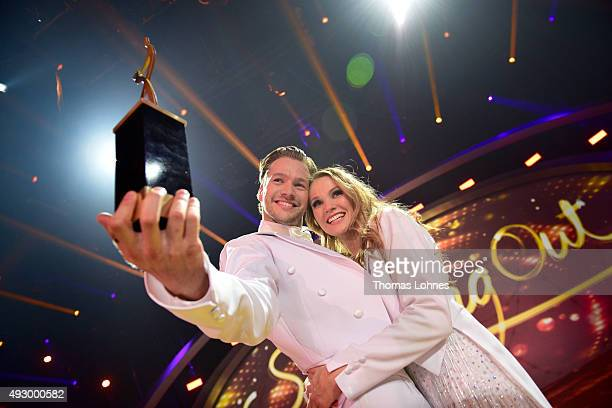 Anna Hofbauer and Marvin Albrecht win the final show of the television competition 'Stepping Out' on October 16 2015 in Cologne Germany