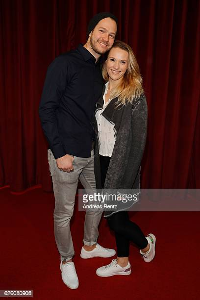 Anna Hofbauer and partner Marvin Albrecht attend the European premiere of 'Sing' at Cinedom on November 27 2016 in Cologne Germany
