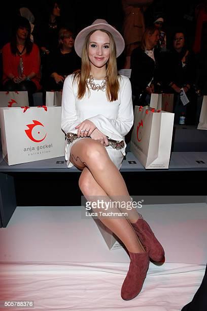 Anna Hofbauer attends the Anja Gockel show during the MercedesBenz Fashion Week Berlin Autumn/Winter 2016 at Brandenburg Gate on January 20 2016 in...