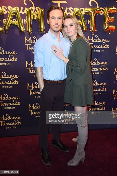 Anna Hofbauer with Ryan Gosling wax figure during the Ryan Gosling Wax Figure Unveiling At Madame Tussauds on January 23 2017 in Berlin Germany