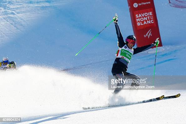 Anna Holmlund of Sweden takes 1st place during the FIS Freestyle Ski World Cup Men's and Women's Ski Cross on December 10 2016 in Val Thorens France