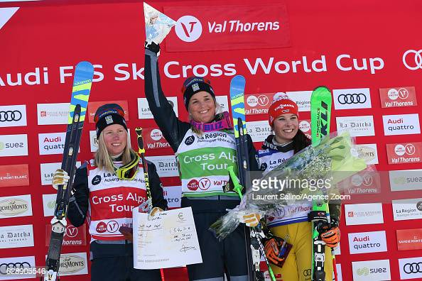 Anna Holmlund of Sweden takes 1st place Sandra Naeslund of Sweden takes 2nd place Daniela Maier of Germany takes 3rd place during the FIS Freestyle...