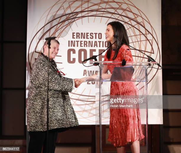 Anna Illy and Katie Lee cookbook author and television host emcee the Ernesto Illy International Coffee Award gala at the New York Public Library on...