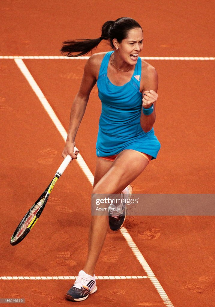 Anna Ivanovic of Serbia celebrates a point during her match against Sabine Lisicki of Germany during day 3 of the Porsche Tennis Grand Prix 2014 at Porsche-Arena on April 23, 2014 in Stuttgart, Germany.
