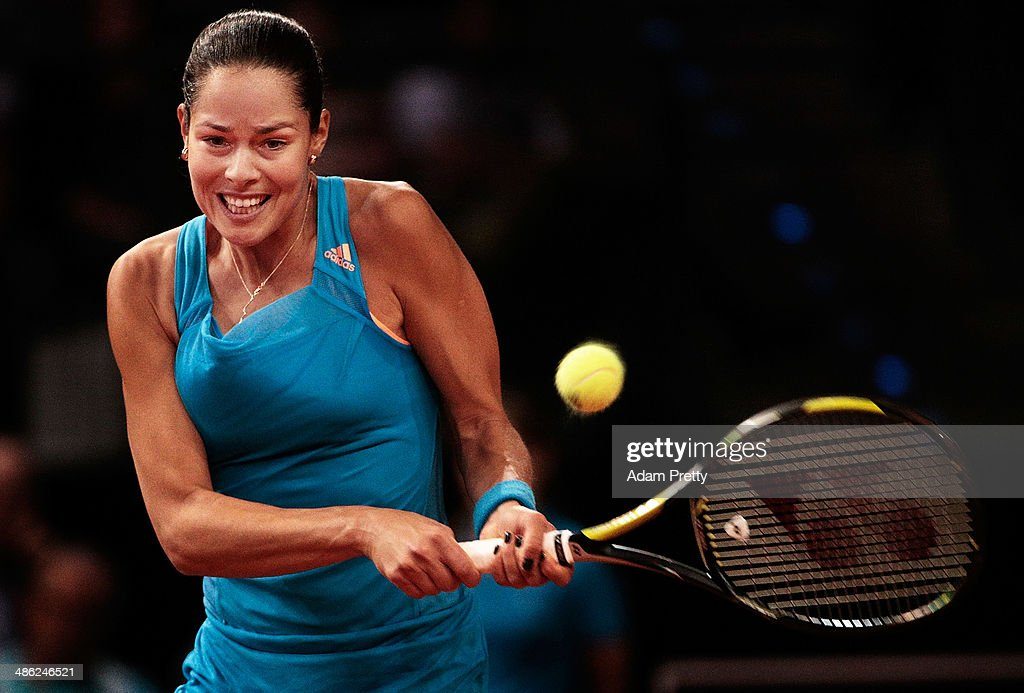 Anna Ivanovic of Serbia hits a backhand during her match against Sabine Lisicki of Germany during day 3 of the Porsche Tennis Grand Prix 2014 at Porsche-Arena on April 23, 2014 in Stuttgart, Germany.