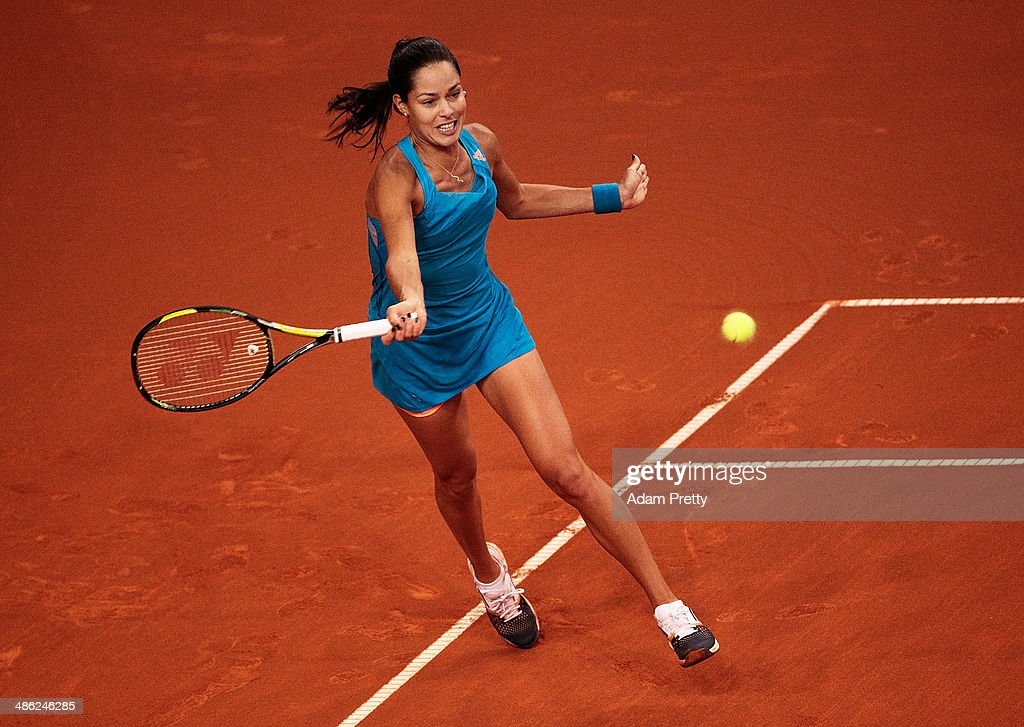 Anna Ivanovic of Serbia hits a forehand during her match against Sabine Lisicki of Germany during day 3 of the Porsche Tennis Grand Prix 2014 at Porsche-Arena on April 23, 2014 in Stuttgart, Germany.