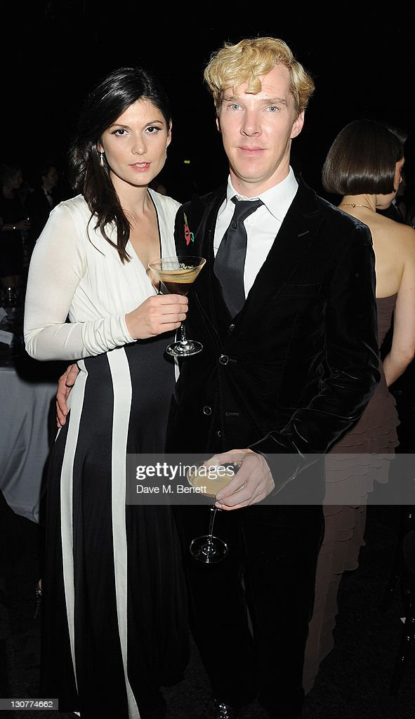 Anna James (L) and Benedict Cumberbatch attend the Grey Goose Winter Ball to benefit the Elton John AIDS Foundation at Battersea Evolution on October 29, 2011 in London, England.