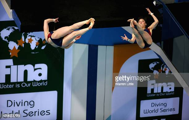 Anna James and Gracia Leydon Mahoney of the USA dive in the Women's 10m Synchro Platform Final during day one of the FINA/NVA Diving World Series...