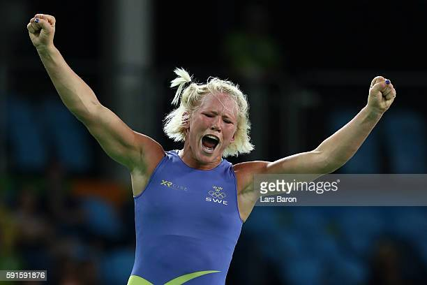Anna Jenny Fransson of Sweden celebrates after defeating Dorothy Erzsebet Yeats of Canada during the Women's Freestyle 69 kg Bronze Medal match on...