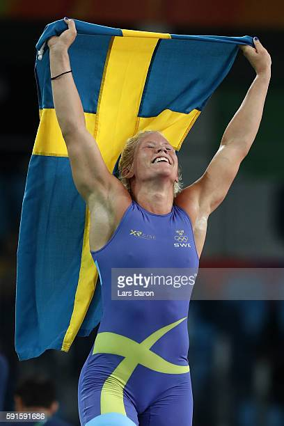 Anna Jenny Fransson of Sweden celebrates defeating Dorothy Erzsebet Yeats of Canada during the Women's Freestyle 69 kg Bronze Medal match on Day 12...