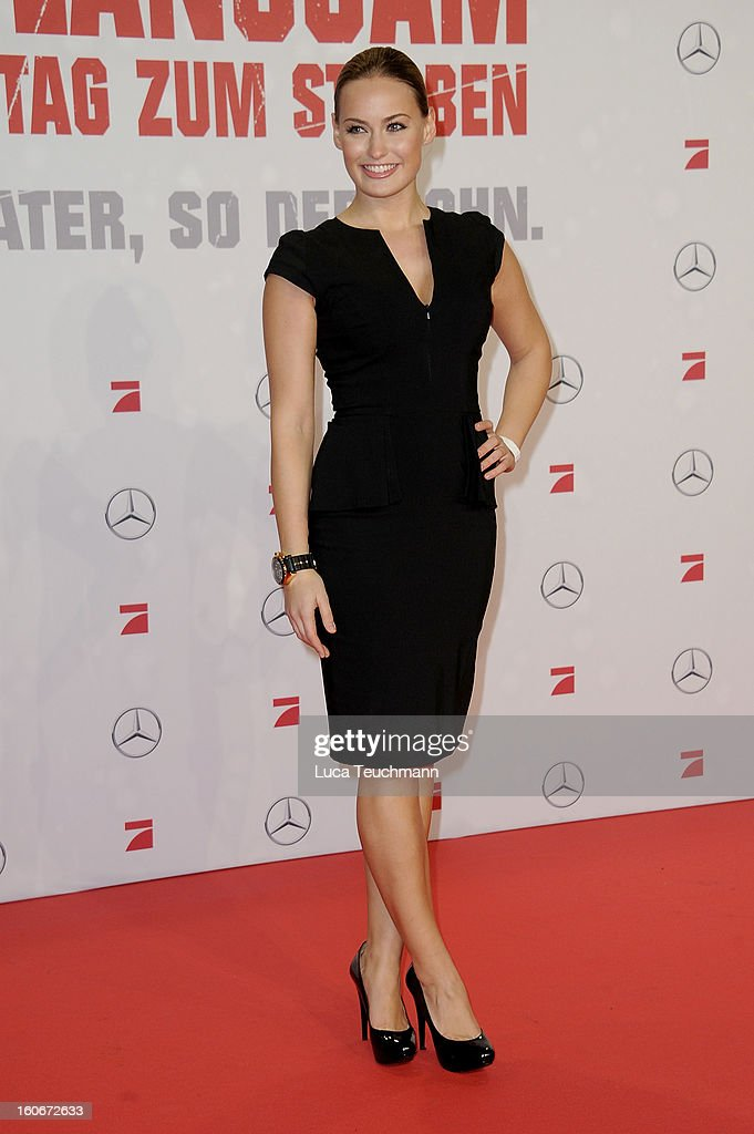Anna Julia Hagen attends the premiere of 'Die Hard - Ein Guter Tag Zum Sterben' at Sony Center on February 4, 2013 in Berlin, Germany.
