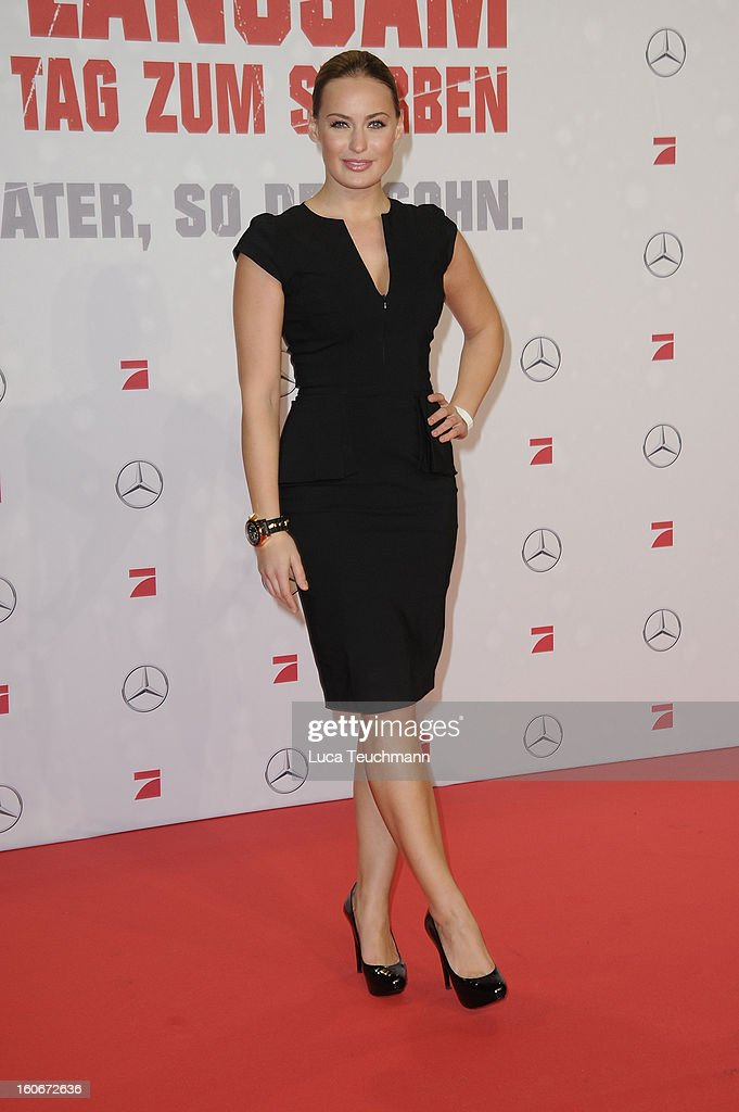 Anna Julia Hagen attends the premiere of 'Die Hard - Ein Guter Tag Zum Sterben' at Sony Center on February 4, 2013 in Berlin, Germany.