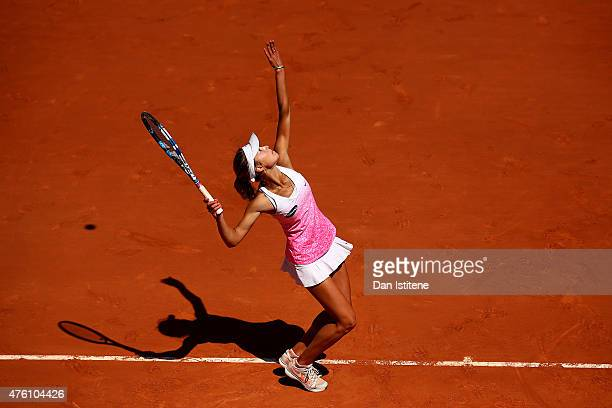 Anna Kalinskaya of Russia serves during the girl's singles final match against Paula Badosa Gibert of Spain on day fourteen of the 2015 French Open...