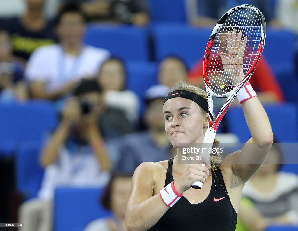 Anna Karolina Schmiedlova of Slovakia reacts after winning the match against Roberta Vince of Italy on day 5 of Huajin Securities WTA Elite Trophy Zhuhai at Hengqin Tennis Center on November 6, 2015 in Zhuhai, China.
