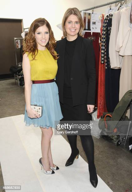 Anna Kendrick and designer Jenny Packham attend the Jenny Packham Show during MercedesBenz Fashion Week Fall 2014 at Industria Studios on February 11...