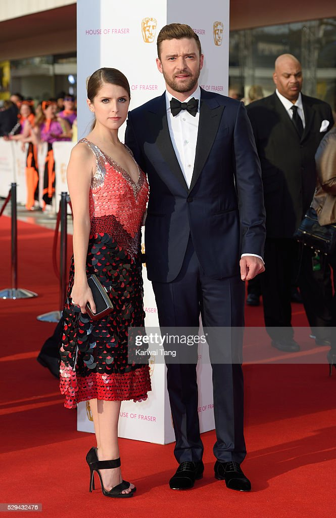 Anna Kendrick and Justin Timberlake arrive for the House Of Fraser British Academy Television Awards 2016 at the Royal Festival Hall on May 8, 2016 in London, England.