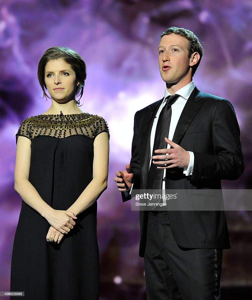 Anna Kendrick and Mark Zuckerberg (L-R) are presenters at the 2014 Breakthrough Prizes Awarded in Fundamental Physics and Life Sciences Ceremony at NASA Ames Research Center on December 12, 2013 in Mountain View, California.