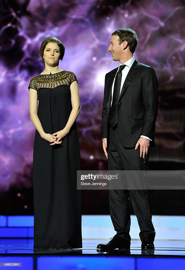 <a gi-track='captionPersonalityLinkClicked' href=/galleries/search?phrase=Anna+Kendrick&family=editorial&specificpeople=3244893 ng-click='$event.stopPropagation()'>Anna Kendrick</a> and <a gi-track='captionPersonalityLinkClicked' href=/galleries/search?phrase=Mark+Zuckerberg&family=editorial&specificpeople=4841191 ng-click='$event.stopPropagation()'>Mark Zuckerberg</a> (L-R) are presenters at the 2014 Breakthrough Prizes Awarded in Fundamental Physics and Life Sciences Ceremony at NASA Ames Research Center on December 12, 2013 in Mountain View, California.