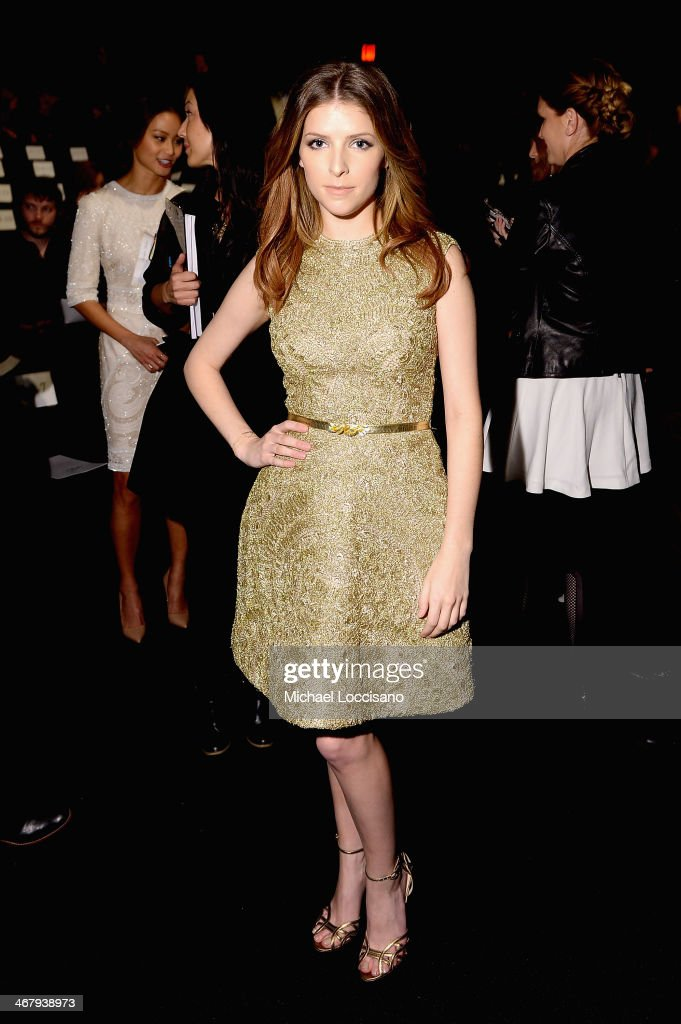 <a gi-track='captionPersonalityLinkClicked' href=/galleries/search?phrase=Anna+Kendrick&family=editorial&specificpeople=3244893 ng-click='$event.stopPropagation()'>Anna Kendrick</a> attends the Monique Lhuillier fashion show during Mercedes-Benz Fashion Week Fall 2014 at The Theatre at Lincoln Center on February 8, 2014 in New York City.