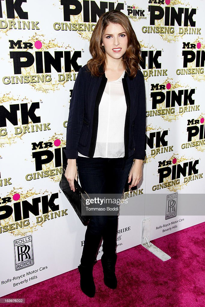 <a gi-track='captionPersonalityLinkClicked' href=/galleries/search?phrase=Anna+Kendrick&family=editorial&specificpeople=3244893 ng-click='$event.stopPropagation()'>Anna Kendrick</a> attends the Mr. Pink ginseng drink launch party held at the Regent Beverly Wilshire Hotel on October 11, 2012 in Beverly Hills, California.