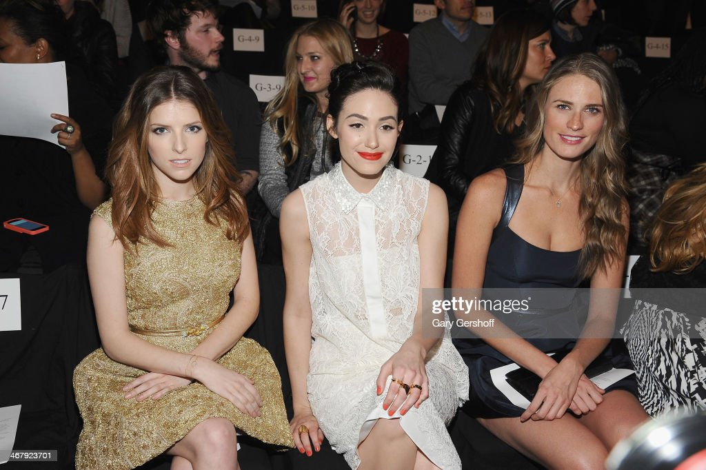 <a gi-track='captionPersonalityLinkClicked' href=/galleries/search?phrase=Anna+Kendrick&family=editorial&specificpeople=3244893 ng-click='$event.stopPropagation()'>Anna Kendrick</a>, <a gi-track='captionPersonalityLinkClicked' href=/galleries/search?phrase=Emmy+Rossum&family=editorial&specificpeople=202563 ng-click='$event.stopPropagation()'>Emmy Rossum</a> and <a gi-track='captionPersonalityLinkClicked' href=/galleries/search?phrase=Julie+Henderson&family=editorial&specificpeople=4154524 ng-click='$event.stopPropagation()'>Julie Henderson</a> attend the Monique Lhuillier show during Mercedes-Benz Fashion Week Fall 2014 at The Theatre at Lincoln Center on February 8, 2014 in New York City.